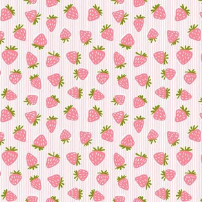 (small scale) strawberries - pink stripes C19BS