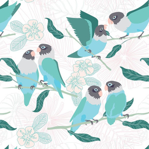 Boho Paradise Lovebirds white