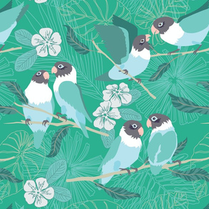 Boho Paradise Lovebirds teal