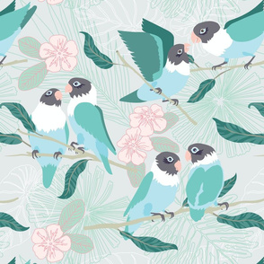 Boho Paradise Lovebirds grey