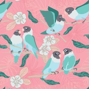 Boho Paradise Lovebirds coral