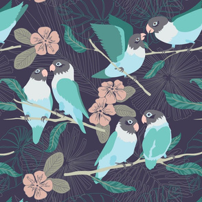Boho Paradise Lovebirds  dark grey