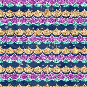 Mermaid glitter scales scallops navy/purple/aqua/gold