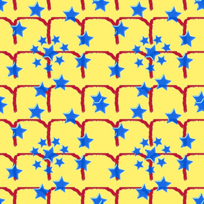 Blue Star Red Fence-yellow background-ch