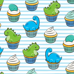 (jumbo scale) dinosaur cupcakes - dino birthday - trex - blue stripes C19BS