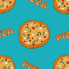 Pizza on Blue