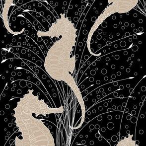 Seahorses Black and Tan