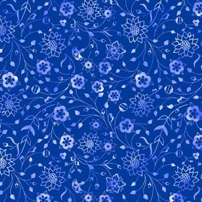 american small folk floral in blues