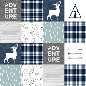 Adventure Patchwork Fabric   || navy grey dusty blue - buck C19BS