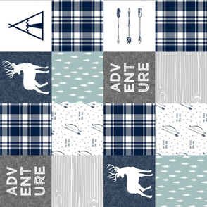 Adventure Patchwork Fabric   || navy grey dusty blue - buck (90) C19BS