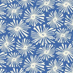Medium Cactus Blooms-Cream on blue