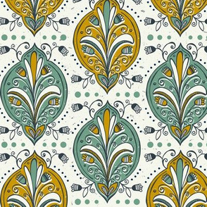 Aria - Floral Ogee Green Gold