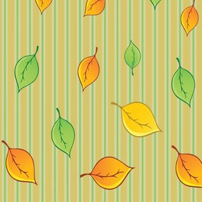 Striped winter leaves fabric