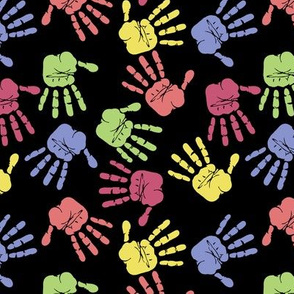 Colorful Hand Prints Black
