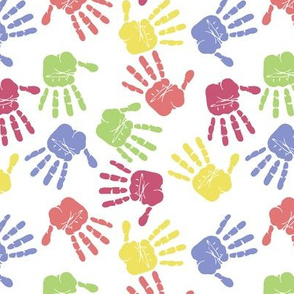 Colorful hand prints white
