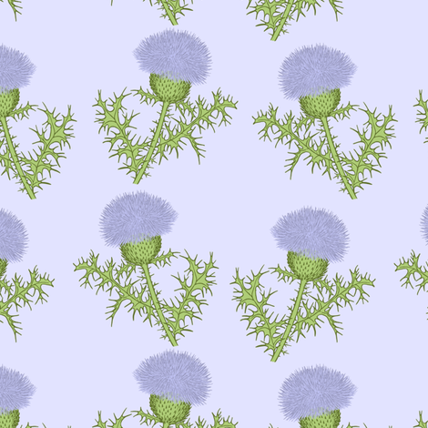 Prickly Scotch Thistles fabric by karwilbedesigns on Spoonflower - custom fabric