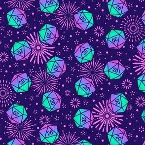 Aurora Dice with Pink Fireworks