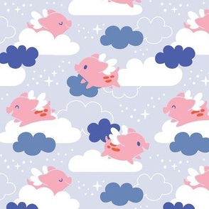 Piglets Dream of Flying Among the Clouds