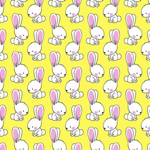 "(1.75"" scale) bunnies - spring easter fabric - yellow  LAD19BS"