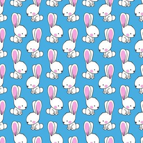 """(1.75"""" scale) bunnies - spring easter fabric - blue LAD19BS"""