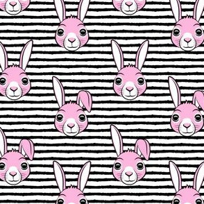 """(1.75"""" scale) easter bunny - pink on black stripes - bunnies LAD19BS"""