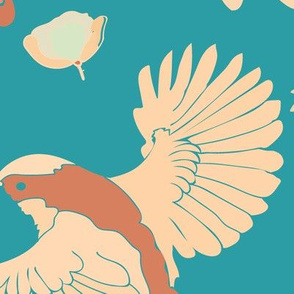BIRDS_ROSES_CORAL_SEAMLESS_STOCK