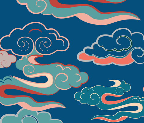CLOUDS_MONGOLIAN_BLUE_SEAMLESS_STOCK fabric by oyunatl on Spoonflower - custom fabric