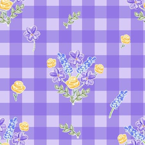 Spring Picnic Bouquets Purple on Lavender Gingham