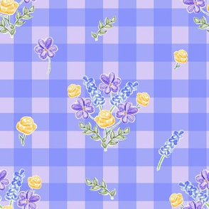Spring Picnic Bouquets Lilac And Blue Gingham