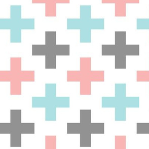 Multi Cross || coral grey light teal C19BS