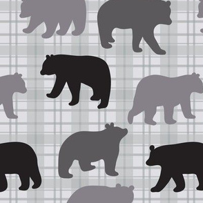 Bears Black Gray Plaid Large