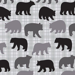 Bears Black Gray Plaid Med