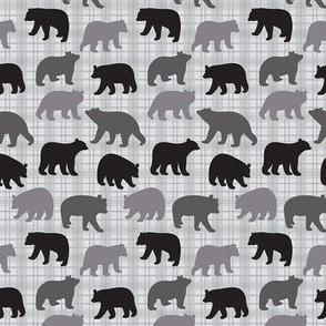 Bears Black Gray Plaid Small
