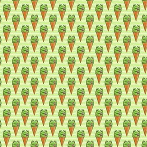 (micro scale) frog icecream cones on green stripes C19BS