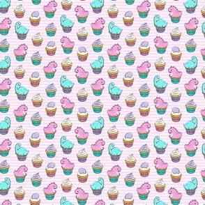 (micro scale) dinosaur cupcakes - dino birthday - trex - pink stripes LAD19BS
