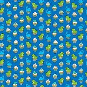 (micro scale) dinosaur cupcakes - dino birthday - trex - blue LAD19BS