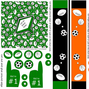 doll poncho  scarf and foam finger sports green orange