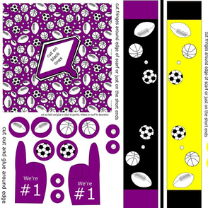 doll poncho  scarf and foam finger sports purple yellow