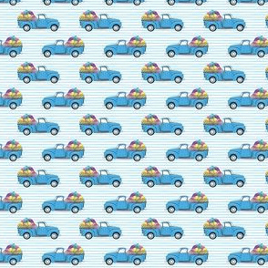 (micro scale) vintage truck with Easter eggs - Easter Fabric - blue stripes LAD19BS