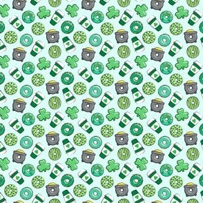 (micro scale) Saint Patricks Day Donuts & Coffee  - green on mint C19BS