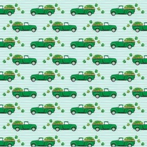 (micro scale) Vintage Truck with Shamrocks - St Patrick's Day - Green on Mint Stripes C19BS