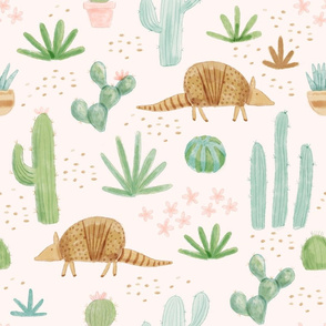 Watercolor Armadillos in the Desert