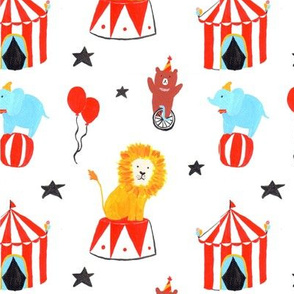 Lion, Bear, and Elephant in the circus with a tent and balloons