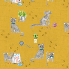 hey cat! russian blue on gold