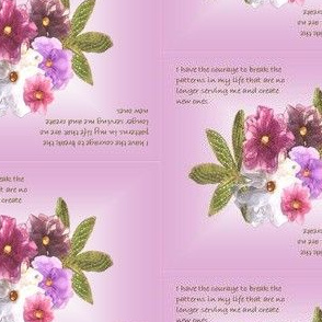 Organza flowers with inspirational quote