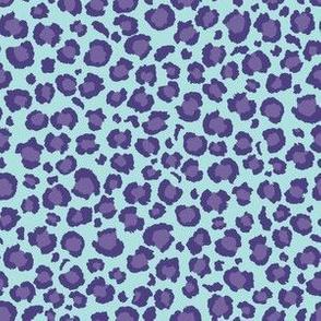 Leopard Print - Purple spots dots with Blue Background