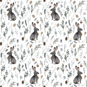 "4"" Woodland Bunnies // White"