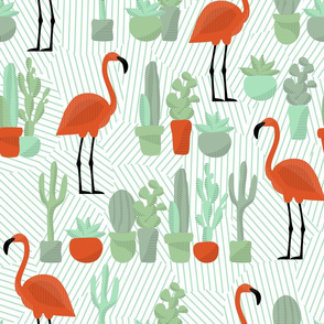 Palm Springs Cacti and Flamingos