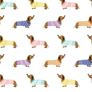 Doxie in Sweaters--White--Grande