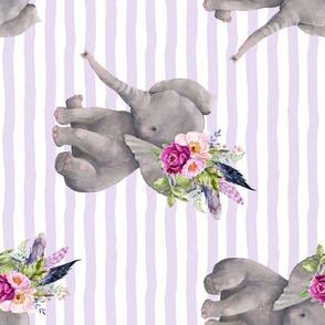 "8"" Boho Lilac Elephant / Lilac Stripes 90 degrees"